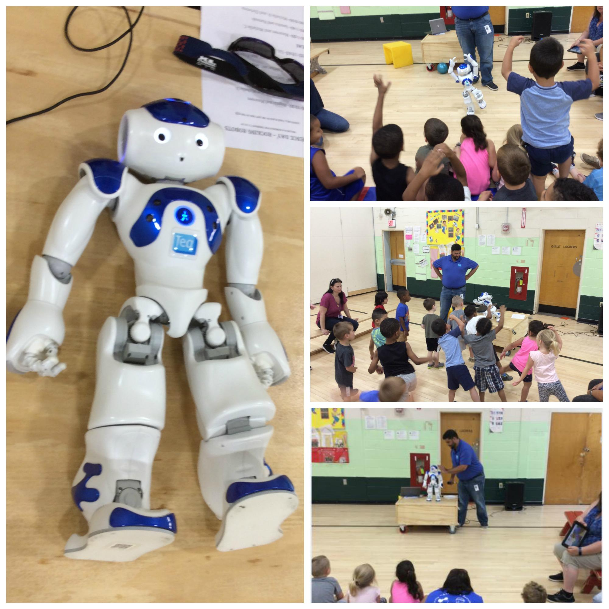 Collage of Teq NAO Robot and students dancing and learning