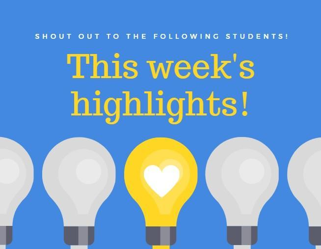 Student Highlights for April 20 - 24