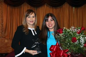 Cris Valdez with award winner Amanda Cedillo