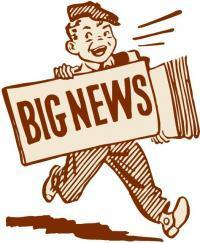 A newspaper boy with a newspaper that reads Big News