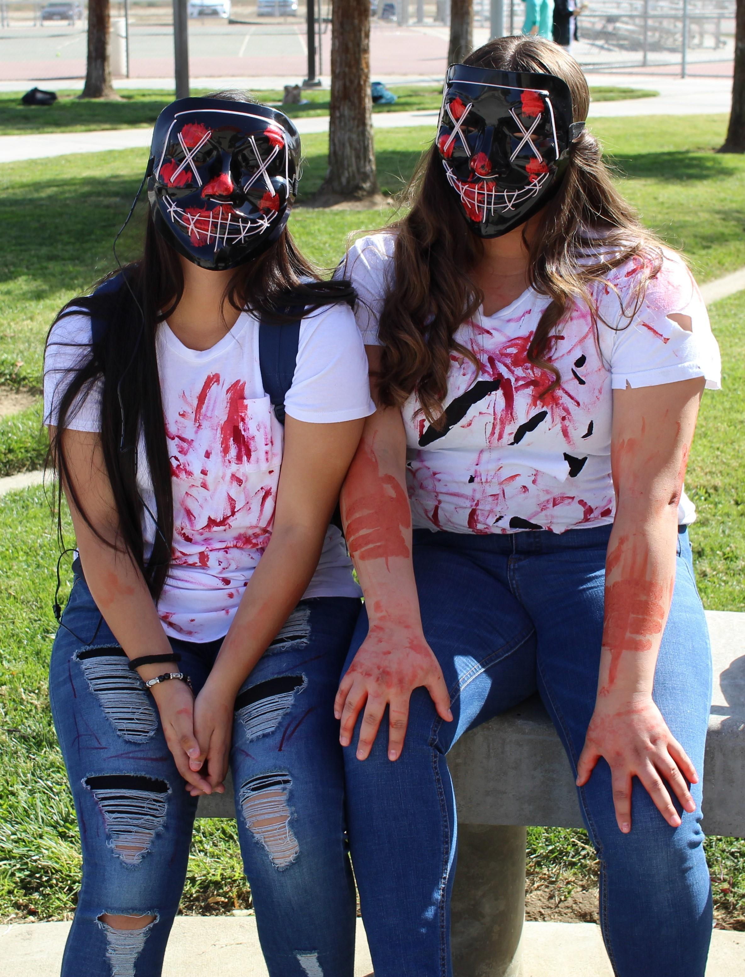 Jessica Tellez and Josyln Farfan as the Purge