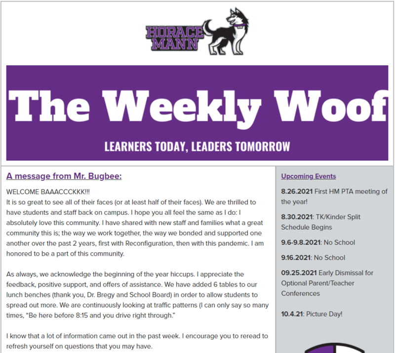 The Weekly Woof Newsletter for 8-18-21