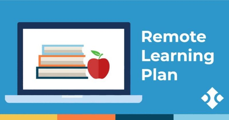 stacked bookes with an apple on the side,  that reads Remote Learning Plan