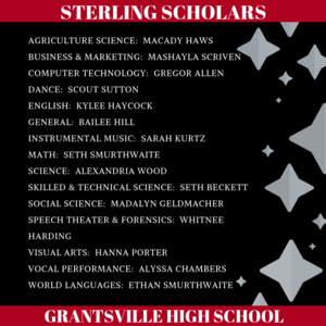 List of names for the 2018 - 2019 Sterling Scholars at Grantsville High School
