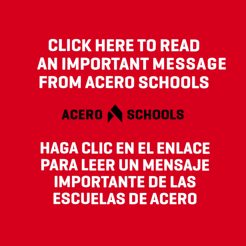 CLick here for an important message from acero schools with logo AND SPANISH