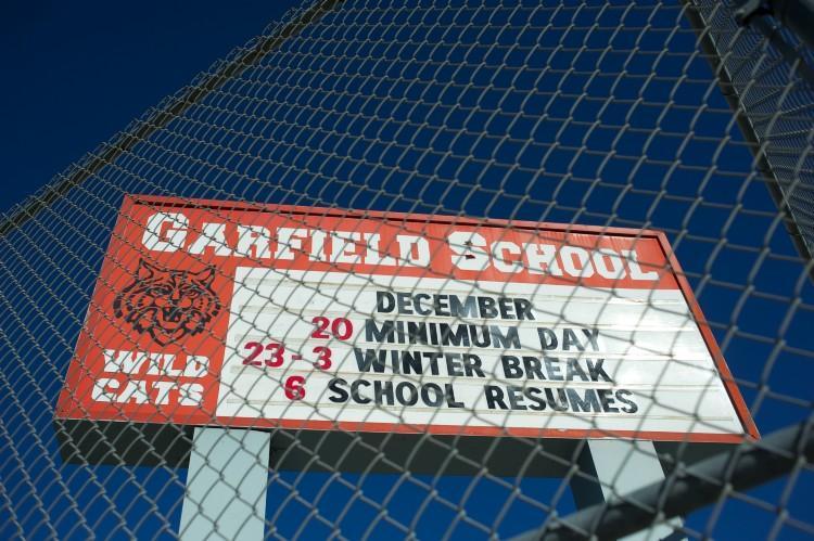 Garfield school marquee