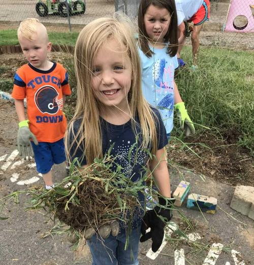 Kindergarten working hard to beatify our campus!