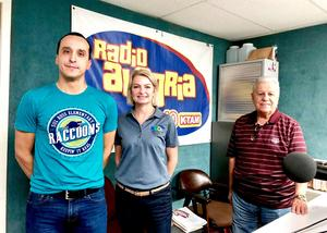 Chief of Staff Ginger Carrabine at Radio Alegria interview with Hugo Ibarra and the radio announcer