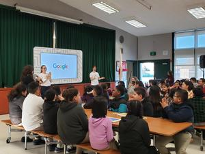 Principal Diaz-Sepulveda introduces the Google CS Roadshow.