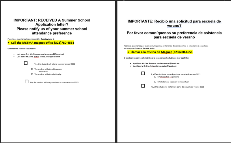 RECEIVED A SUMMER SCHOOL APPLICATION ?   PLEASE CONTACT THE MAGNET OFFICE: (323) 780-4551 Featured Photo