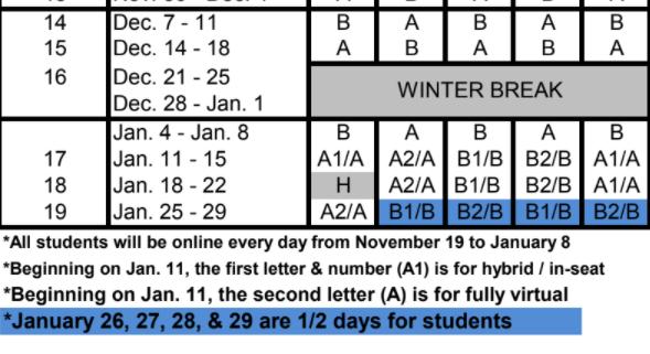 A/B Schedule Dec/Jan