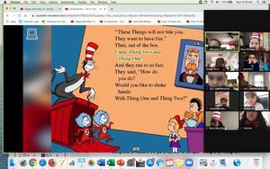 Zoom class reading Dr. Seuss