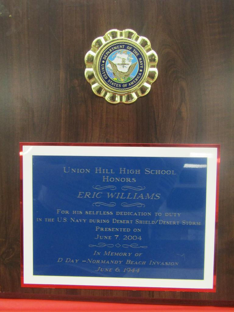 dr. williams recognizition for his service in desert storm from his alma matter UHHS