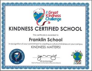 Kindness Certified School certificate for Franklin School during the Great Kindness Challenge.