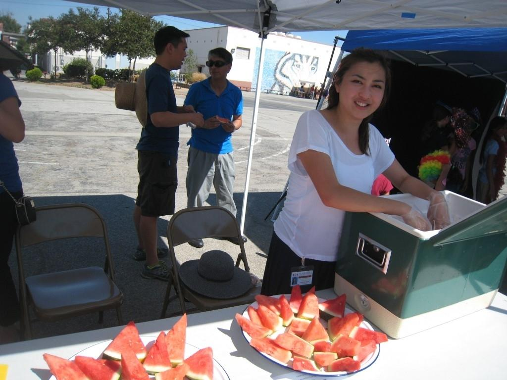 Watermelons are ready at the PTA/ASB Community Building Picnic