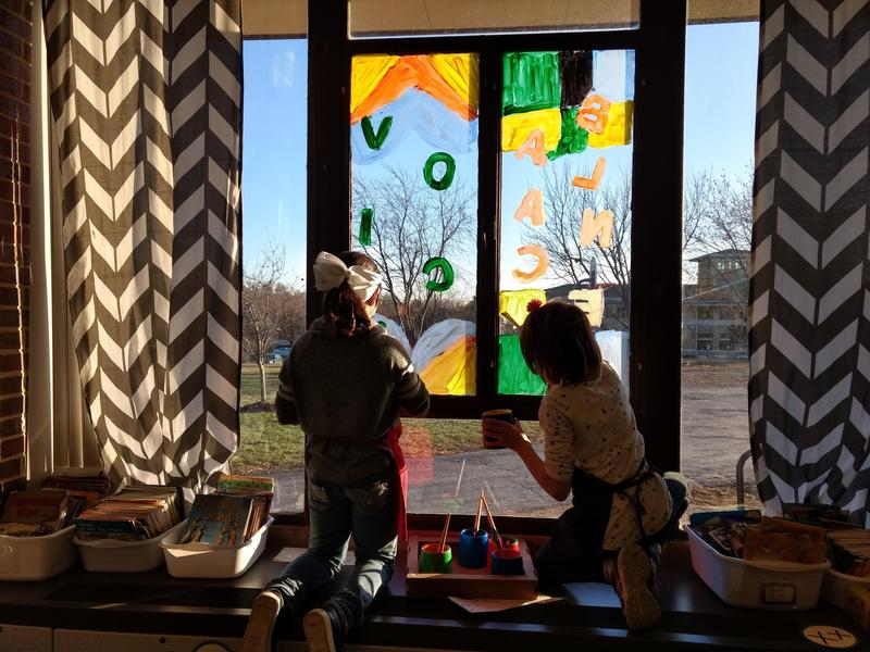 Students Paint Windows as part of MG Club