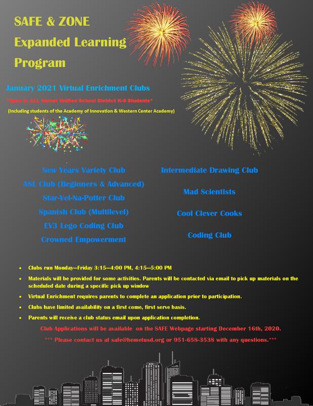 January Enrichment Club Enrollment