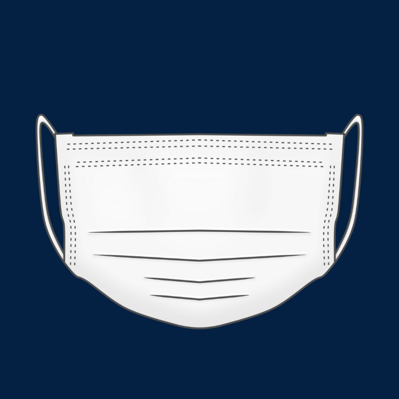 the image is a clipart of a white, medical face mask worn to prevent the spread of germs. this clip art is on a dark blue background.