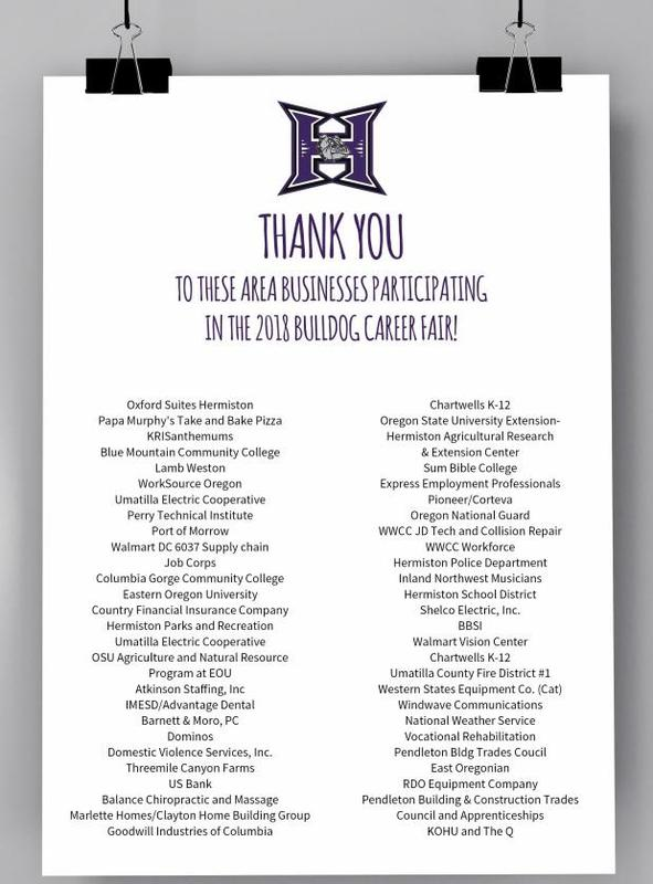 Names of businesses participating in Bulldog Career Fair