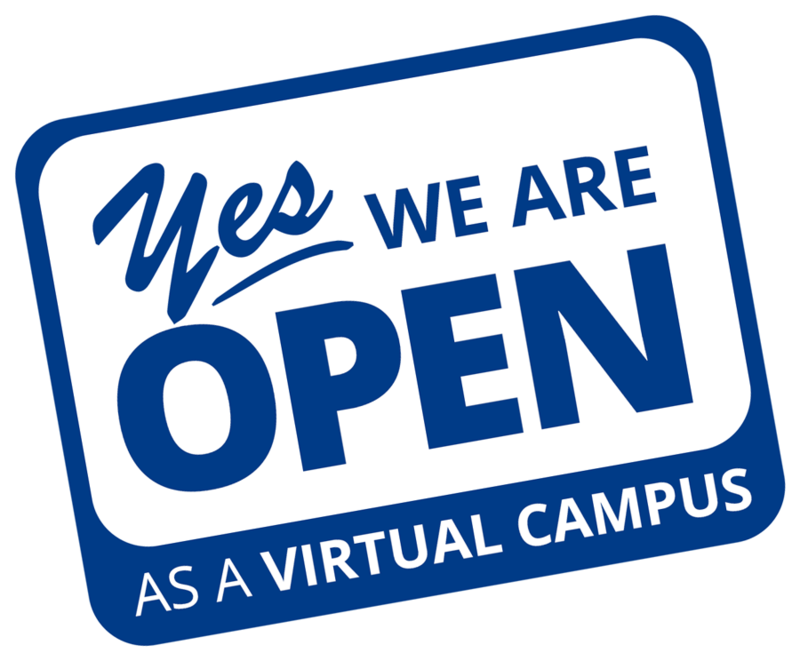 Open for virtual learning sign