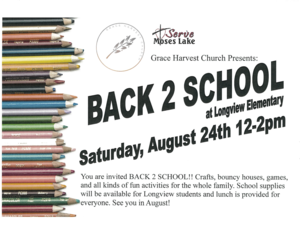 Image of Serve Moses Lake Back to School Event Flyer.