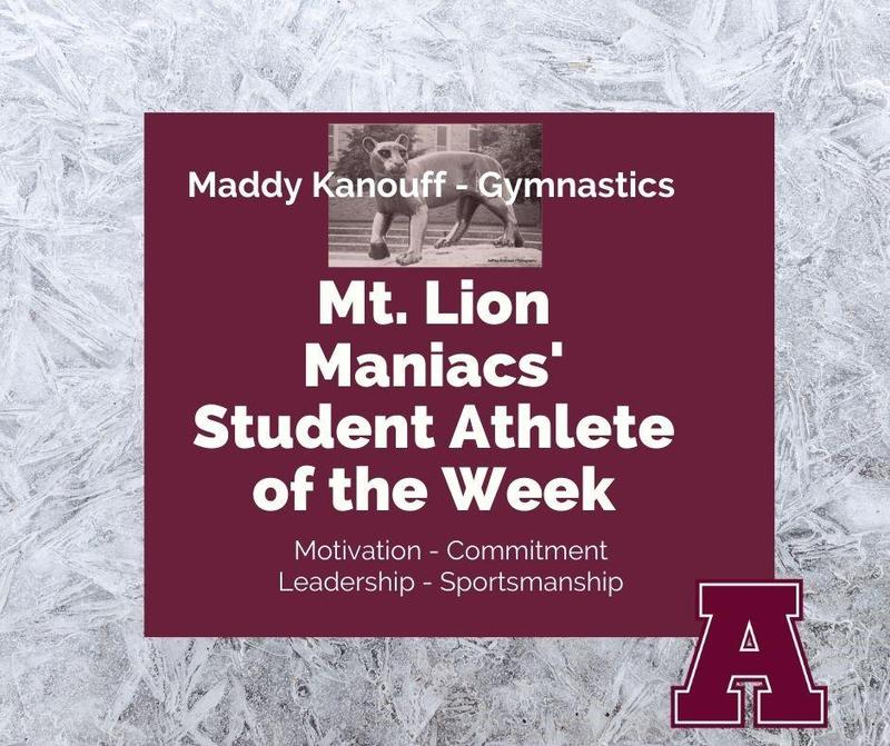 Mt. Lion Maniacs' Student of the Week  Maddy Kanouff of Gymnastics