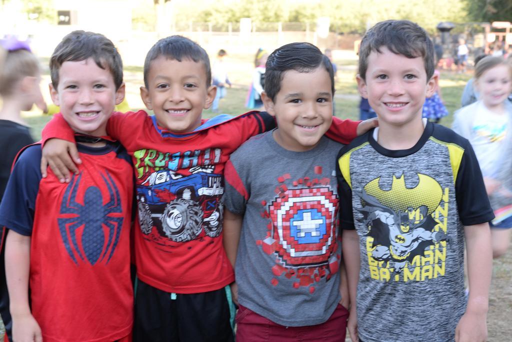 students dressed as superheros