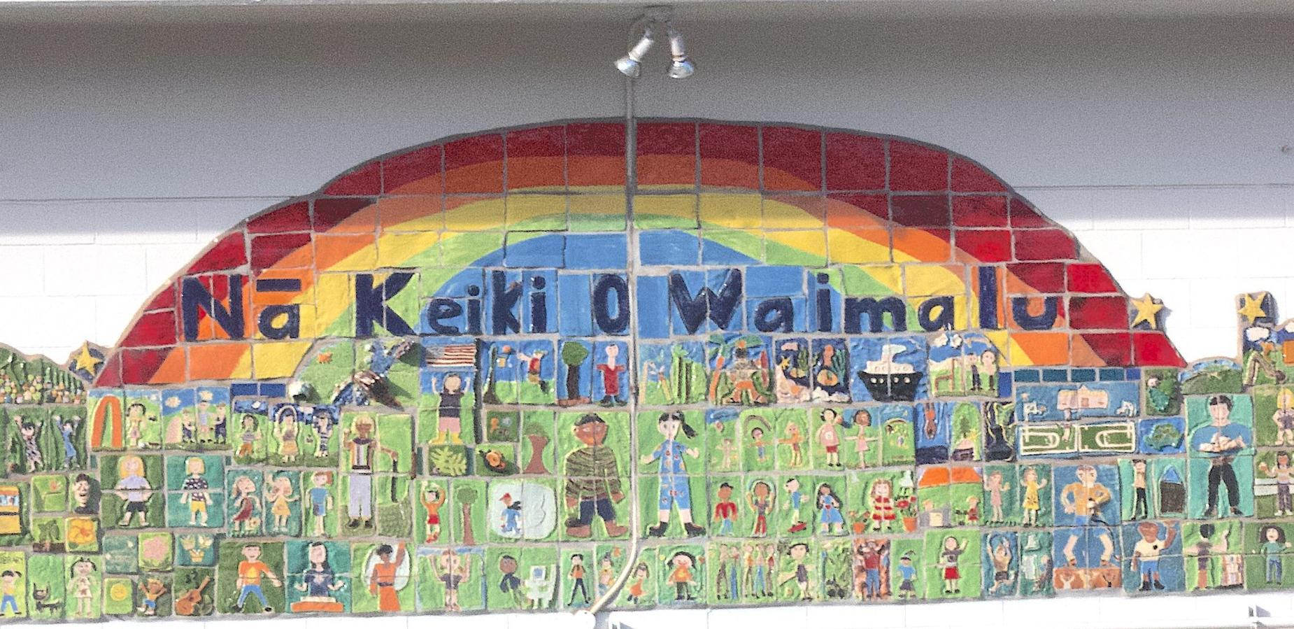 Mural on cafeteria at Waimalu Elementary