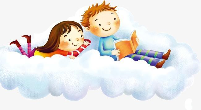 Kids Reading on Clouds Icon Photo