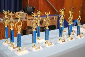 Photo of trophies at Tamaques School annual Reading Marathon celebration.