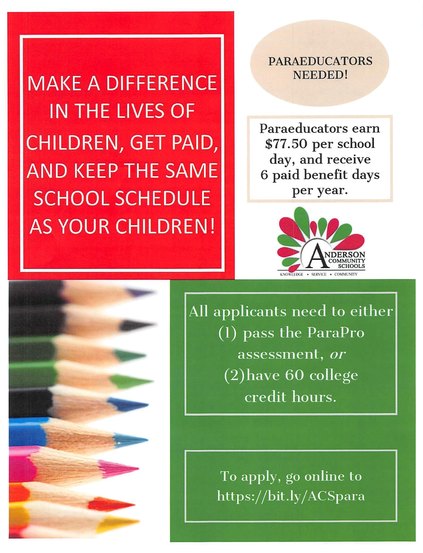 Advertisement for Paraeducators to apply to ACSC