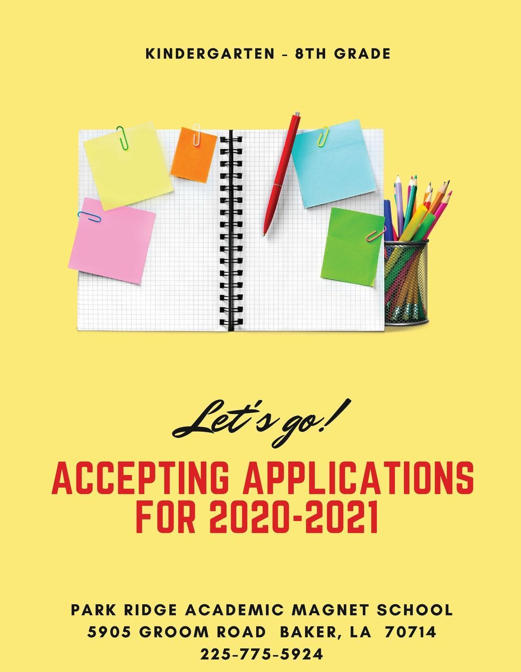 a graphic advertising that Park Ridge is accepting applications for K through 8th grade for the 2020 2021 school year