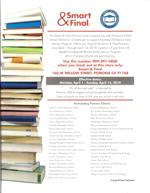 When you shop at the Smart & Final Pomona store April l through April 14, 2019 a portion of your total will benefit Footsteps2Brilliance Early Literacy Program. All 41 Pomona schools are participating. #Proud2bePUSD #CommunityEngagement #StudentSuccess