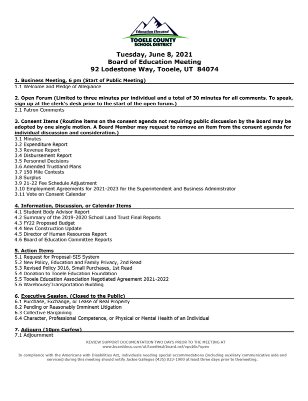 BOE agenda 06/08/2021