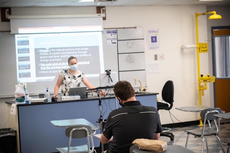 Meghan Keefe teaching science at Xavier High, Middletown