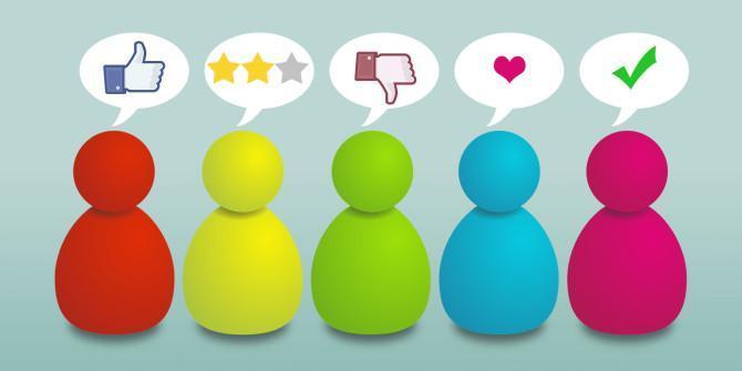 Cartoon people giving reviews in speech bubbles