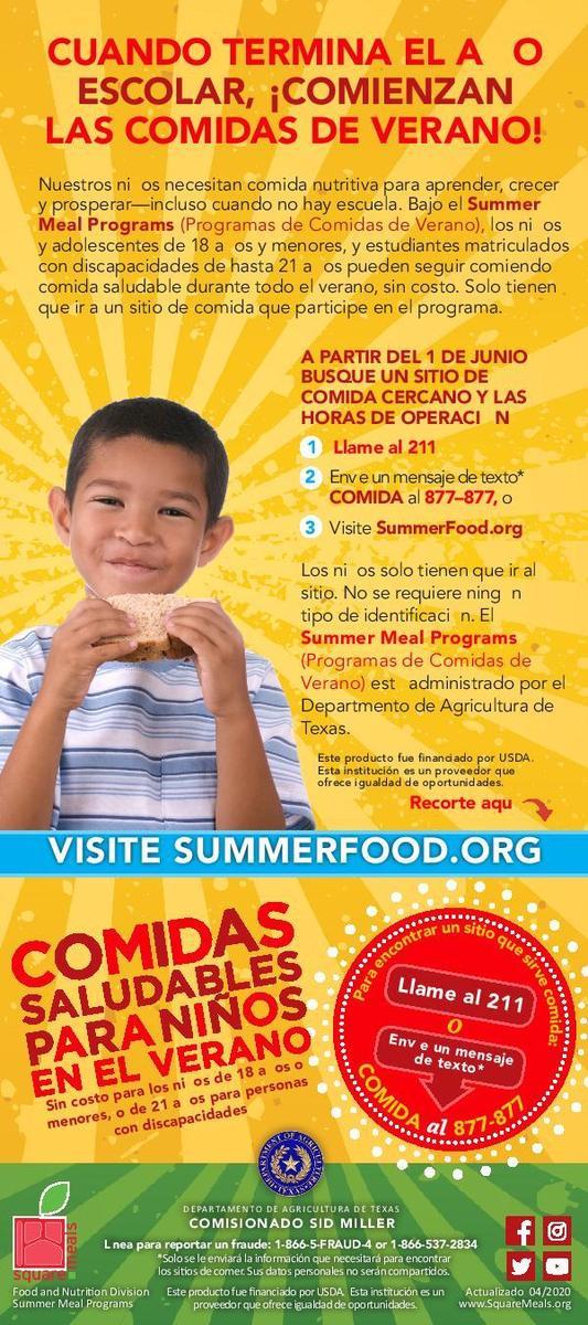 summer meals flyer-spanish