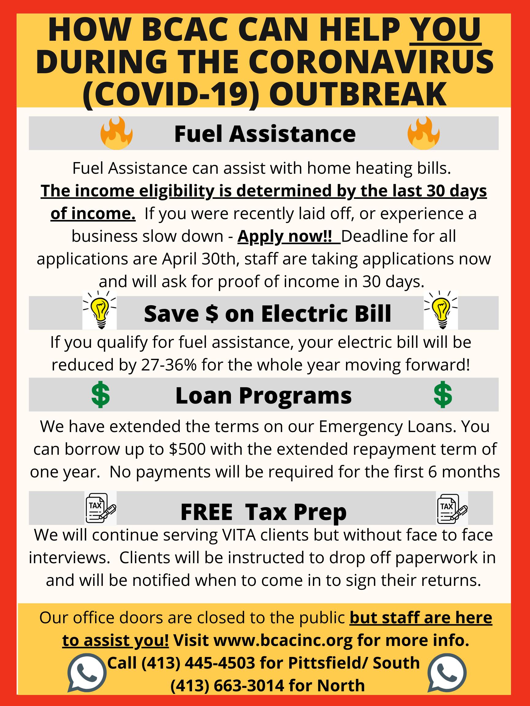 BCAC flyer regarding COVID-19 resources