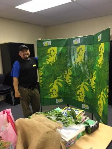 Making backdrop for Family Literacy Night!