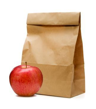 bag lunch, apple