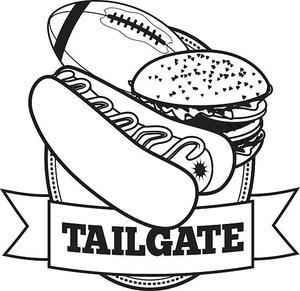 tailgate with football, hamburger and hotdog
