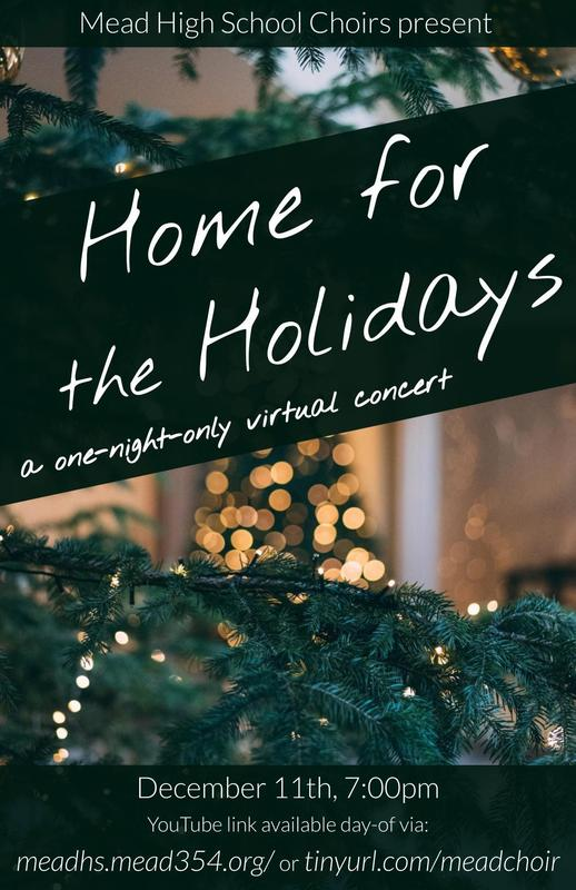 Mead holiday concert flyer. Christmas tree image in the background