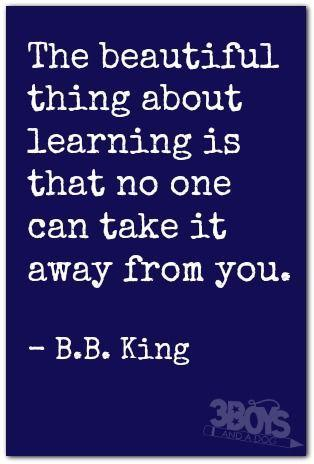 The beautiful thing about learning is that no one can take it away from you. it