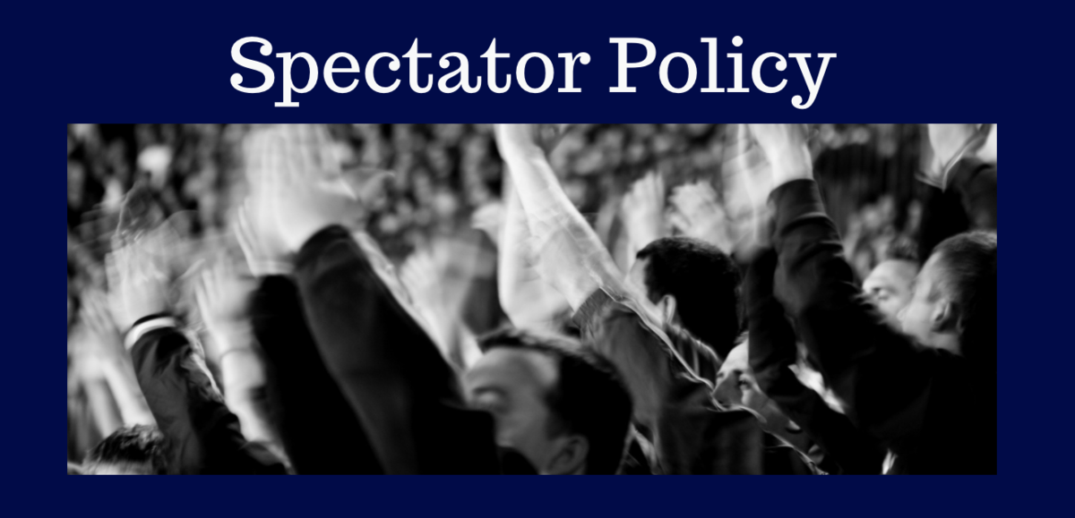 Spectator Policy. Black and white photo of sports fans