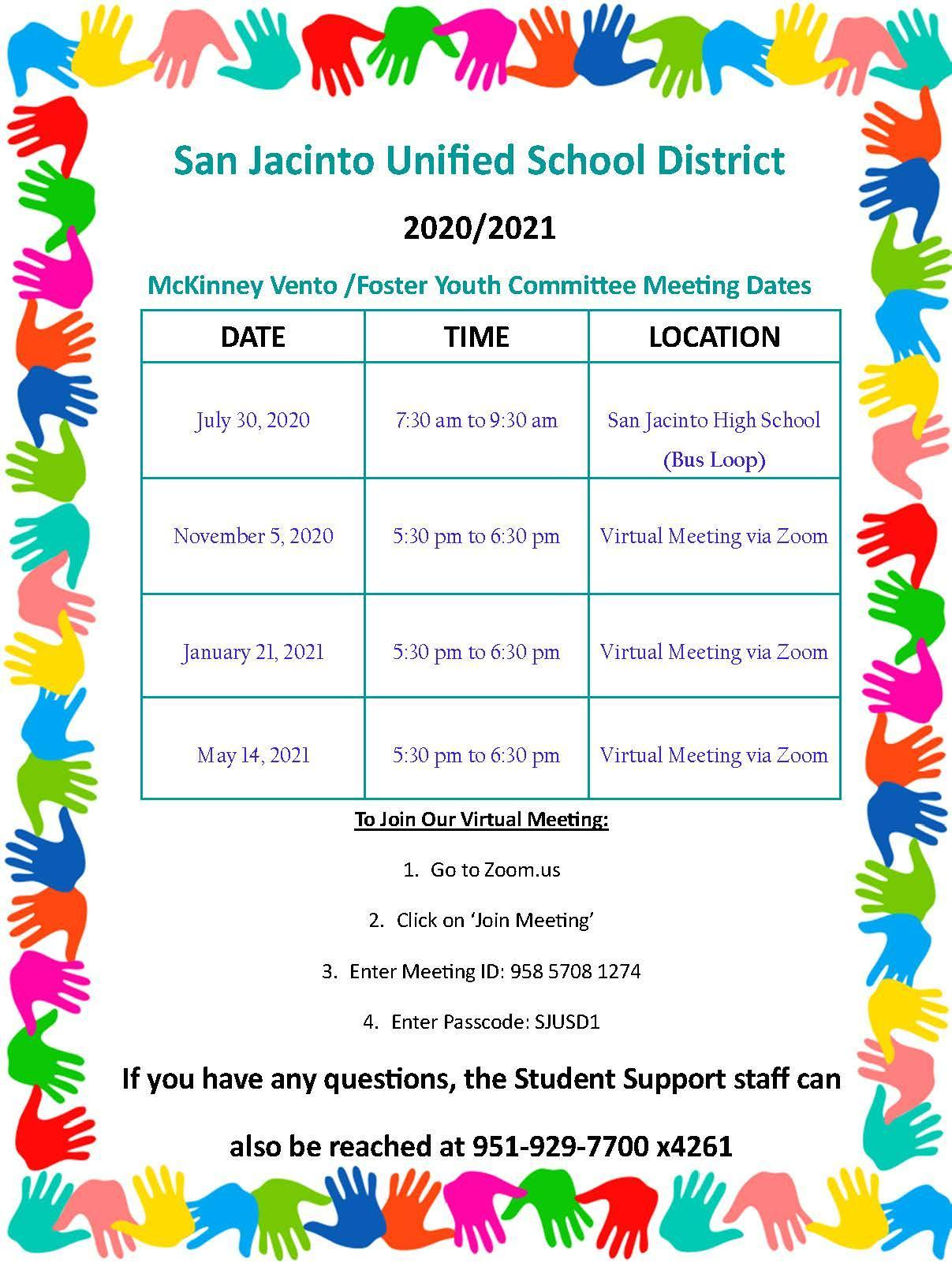 Flyer for Foster Youth Committee Meetings