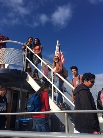 Students on boat at whale watching field trip