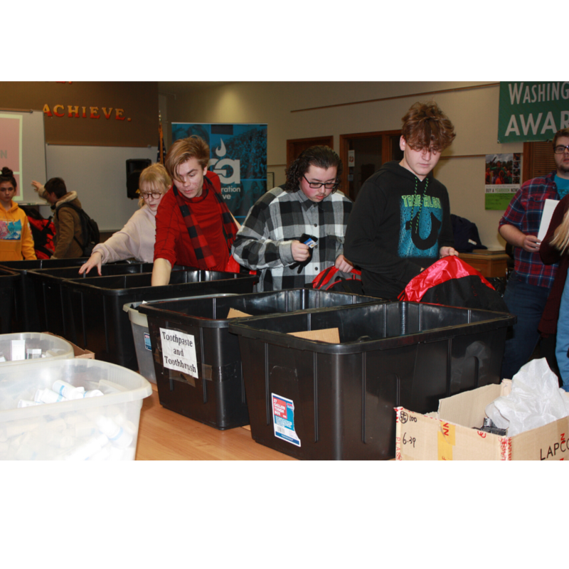 SVH students packing bags for victims