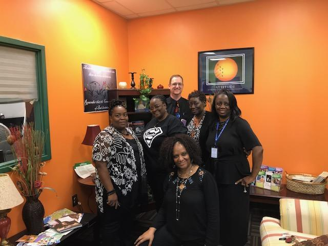 HRMS staff members dressed in black for Blackout Day