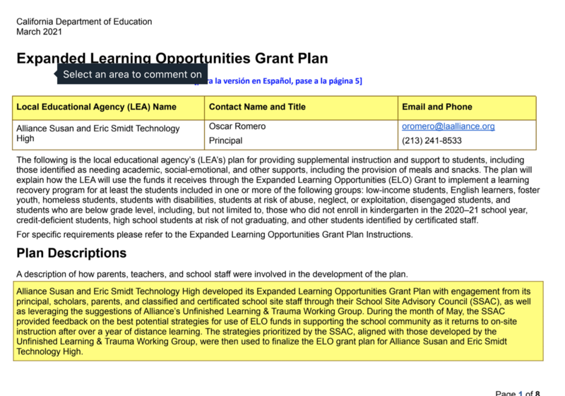 Expanded Learning Opportunities Grant Plan Thumbnail Image
