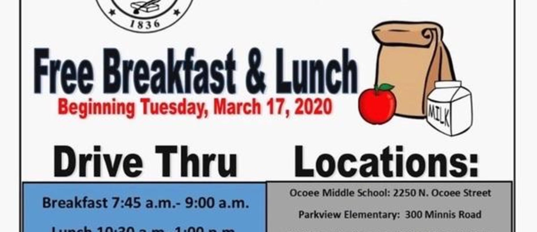 Information Regarding Free Breakfast & Lunch
